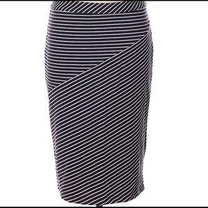 Banana Republic Navy/White Stripe Pencil Skirt